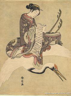 (Japan) by Suzuki Harunobu (1725- 1770). woodblock print. Japan.