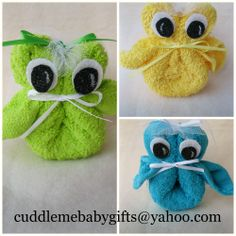 I made these washcloth owls for a bridal shower. I added a veil to make them more wedding. Owls are great baby shower ideas to. Only $3.95 ea. at cuddlemebabygifts@yahoo.com.  Your guests are worth it! @HUGGIES Baby Shower Planner  @The Bump  @Parents Magazine  @BRIDES  @Martha Stewart Weddings Magazine
