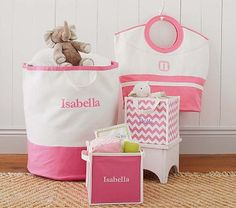 Pink Harper Canvas Storage #PotteryBarnKids - Floor bin for laundry.
