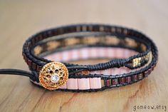 One of a Kind Bracelet // Black Leather Wrap Bracelet // by Gomeow
