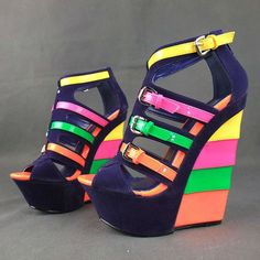 Blue Wedge Shoes, Navy Blue Wedges, Wedge Sandals, Sandal Wedges, Leather Fashion, Fashion Shoes, Pump Shoes, Shoes Heels, Colorful Shoes