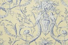 Cherub Toile Wallpaper A traditional wallpaper with cherubs in white and navy blue on strong yellow background