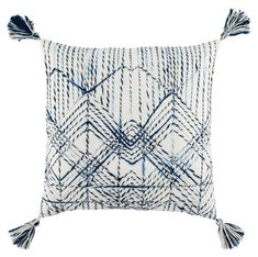 The Omni collection designed by Nikki Chu features an assortment of globally inspired patterns, versatile colorways, and boho-femme vibes. The blue and white Nyx pillow showcases a textured geometric lattice made of twisted yarns for a dose of dimensional Down Throw, Pillow Arrangement, American Decor, Trellis, Decorative Pillows, Blue And White, Throw Pillows, White Pillows, Tapestry