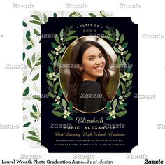 Laurel Wreath Photo Graduation Announcement II....A classic laurel wreath frames this one photo graduation announcement. Customize with your own text and favorite photo. Happy Graduation! White version available, please check my store.