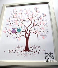 Cuadros de firmas con huellas en tu boda, bautizo o comunión (árbol de huellas) - invitaciones y detalles originales