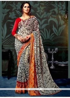 Off White Casual Chiffon Saree Georgette Saree Party Wear, Chiffon Saree, Georgette Sarees, New Indian Dresses, Casual Saree, Indian Ethnic Wear, White Casual, Printed Sarees, Sari