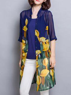 Shop Coats - Elegant 3/4 Sleeve Floral Coat online. Discover unique designers fashion at StyleWe.com.