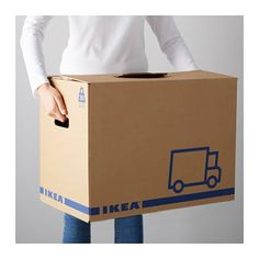 IKEA - JÄTTENE, Moving box, brown, A sturdy, stackable box made of cardboard which you can easily fold together and use again. Cut-out handles on two sides make it easier to lift and carry the box.