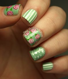 The Nailasaurus: Flowers and Pinstripe