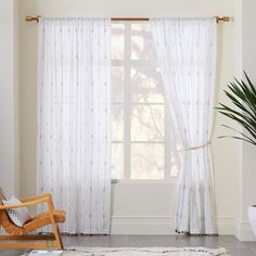 Threshold Diamond Burnout Sheer Curtain Panel White