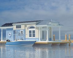 Designed by Tony Lucas of Palm Harbor Homes – a division of Cavco Homes. Palm Harbor is building this plan as a Park Model as well as a house boat, and it is just under 400 sq. It was featured at The international Builders Show in Cabana, Palm Harbor Homes, Houseboat Living, Houseboat Decor, Houseboat Ideas, Water House, Floating House, Beach Cottages, Beach Houses
