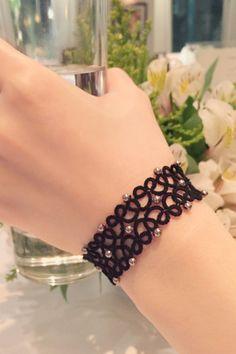 Tatting lace bracelet pdf pattern The Starry Night