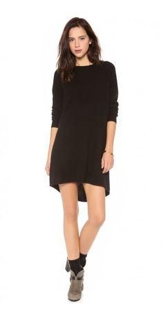 ZANA SWEATER DRESS $88.66 Fine cashmere brings a luxe feel to this sweater dress. Crew neckline and hi-low hem. Long raglan sleeves. Unlined.