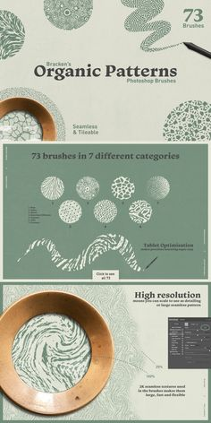 Organic Patterns / Brushes for Photoshop Web Design, Graphic Design Tips, Graphic Design Inspiration, Graphic Design Pattern, Design Trends, Textures Patterns, Organic Patterns, Photoshop Brushes, Adobe Photoshop