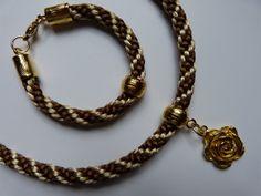 colar e pulseira em kumihimo   espiral kongo-gumi 8 fios, marrom e bege