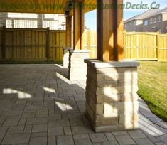 Make supporting posts stronger by mounting it into a base like this. #Deck design #custom deck #interlocking #patio #Toronto