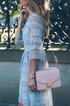 lace bell sleeve dress and furla metropolis bag prosecco and plaid