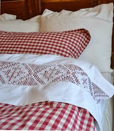 Red gingham sheets with lace