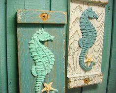 Seahorse Starfish Sign Wall Art Beach House Decor