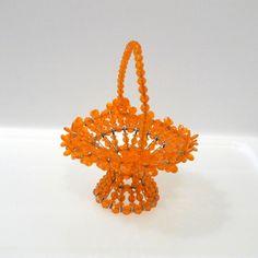 Safety Pin Beaded Basket Vintage Orange Safety by plattermatter2, $16.00