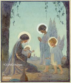 'The Babe' - Madonna and Child with two Angels. Christmas card.