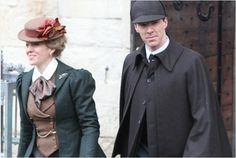 Setlock 2015. Benedict Cumberbatch and Amanda Abbington pictured filming at Gloucester Cathedral.