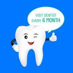 Cute cartoon tooth character smiling with thumb up. Visit dentist every 6 month, dental care concept. Illustration isolated on blue background.