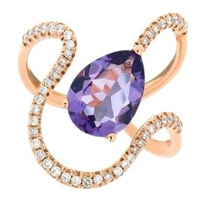 18K Rose Gold, Amethyst with Diamond Ring - Smart Creation Ltd - Products - JCK Las Vegas