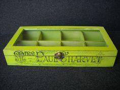 Green bespoke wooden tea box with glass lid by HandmadeByFiona, $47.00