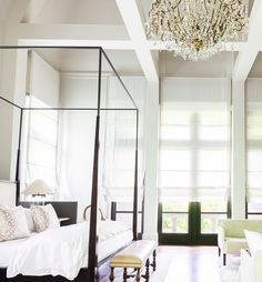 "Such a GLAMOROUS Bedroom - When I imagine what a really ""Glamorous"" bedroom would look like, it would probably look a lot like this one. This stunning bedroom is simply divine. Poster Beds, Four Poster Bed, Dream Bedroom, Home Bedroom, Luxurious Bedrooms, Beautiful Bedrooms, Bedtime, Canopy, Interior And Exterior"