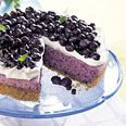 No-Bake Blueberry Cheesecake with Graham Cracker Crust.