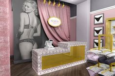 Lingerie Store Interior Design by Mindful Design Consulting Fake Beam, Lingerie Store Design, Material Board, Color Pick, Beige Color, Light Beige, Retail Design, Display Shelves, Designs To Draw