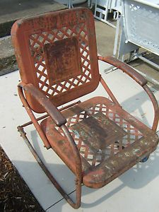 Antique Lawn Chairs Folding Easy Chair Cloth Vintage Metal Rockers 1940s 1950s Patio Rocking
