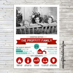 Christmas Newsletter Infographic Holiday Card  - digital file. $10.00, via Etsy.