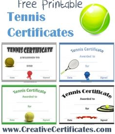 A variety of free printable tennis certificate templates. Many more free sports awards and award certificates on this site. Tennis Lessons, Tennis Tips, Gift Certificate Template, Award Certificates, Tennis Crafts, Pe Activities, Tennis Funny, Tennis Party, Sports Awards