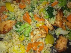 Gyors zöldséges csirke falatok bulgurral recept lépés 3 foto Kaja, Fried Rice, Fries, Healthy Recipes, Healthy Foods, Food And Drink, Chicken, Meat, Ethnic Recipes