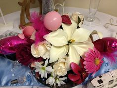 A fantasy flower table arrangement made with balloons.
