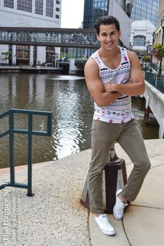 model Zeus Markos with a print summer style