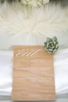 faux fur runner // wood grain menu card // succulent // winter wedding