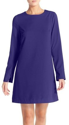 Nordstrom - Women's Chelsea28 Long Sleeve Crepe Shift Dress, , women, fashion, clothing, clothes, style, summer style, spring