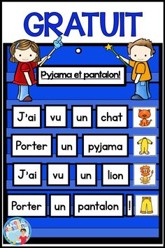 I love teaching French vocabulary and sight words with rhymes in early elementary! These fun poems will help students work on rhyming and predictable sentences while working with words in the French classroom! Communication Orale, French Poems, Reading Recovery, Site Words, Free In French, Core French, French Classroom, French Immersion, Teaching French