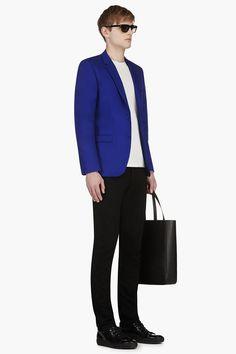 Calvin Klein Royal Blue Blazer in Blue for Men Blue Blazer Outfit, Blazer Outfits, Royal Blue Blazers, Suit Combinations, Klein Blue, Calvin Klein Men, Blazers For Men, Men Looks, Blue Suits