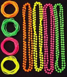 1980s neon gummy bracelets and bead necklaces