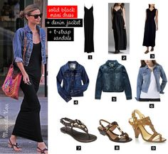 Airport Style: Comfy maxidress with jean jacket and shoulder satchel