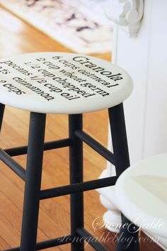 recipe on a stool: The Enchanted Home Kitchen Stools, Bar Stools, Kitchen Decor, Kitchen Ideas, Kitchen Pics, Kitchen Design, Furniture Makeover, Diy Furniture, Plywood Furniture
