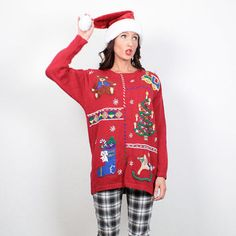 Vintage Ugly Christmas Sweater Ugly Xmas Sweater Tacky Christmas Sweater Red Embroidered Beaded Holiday Party Jumper Pullover Knit M Medium