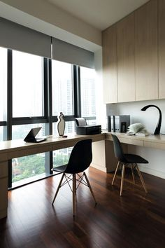 Mood Board Large: A Study For Two | Home & Decor Singapore If you want a study room for your kids, it's a good idea to have them face a different direction each. This ensures they won't distract each other and they don't have to share the same table space.