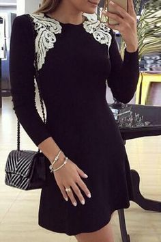 Stylish Off-The-Shoulder Long Sleeve Color Block Lace Hem Women's Fit and Flare Dress Club Dresses | RoseGal.com Mobile