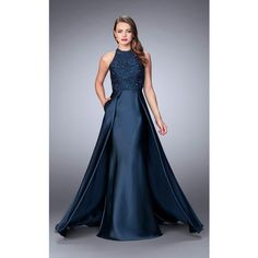 La Femme 24252 Prom Dress 2017 Long Halter Sleeveless ($438) ❤ liked on Polyvore featuring dresses, gowns, formal dresses, navy, long formal gowns, navy blue evening gown, navy blue gown, blue lace dress and navy blue prom dresses