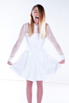 Mesh shirt dress. Buy online now this was featured in Shop till you drop magazine! #shoptilyoudrop #summerfashion #whitefashion #whitedress #mesh #shirt #businesswear #fun #designerfashion #australiandesignerclothing #mahaliabrown